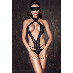 Alexandra - Боди и маска на глаза черные-M
